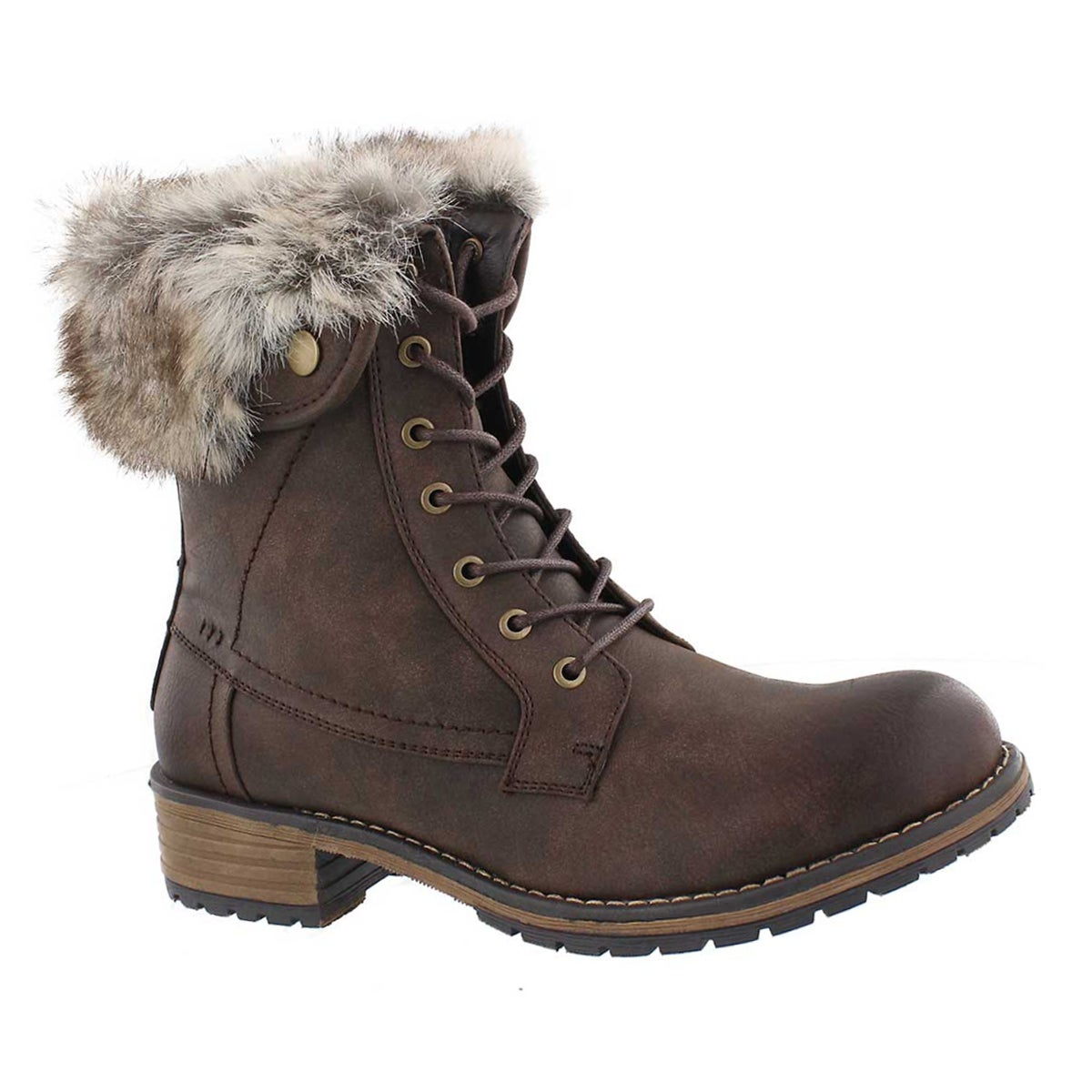Lds Hermione brown fur top lace up boot