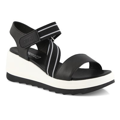 Lds Hibiscus black wedge sandal