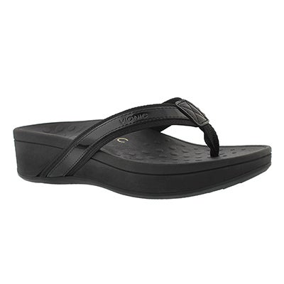 Lds High Tide blk arch support wdg sndl