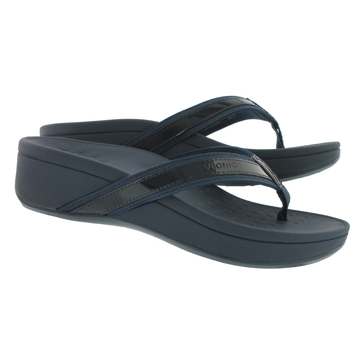Lds High Tide navy arch support wdg sndl