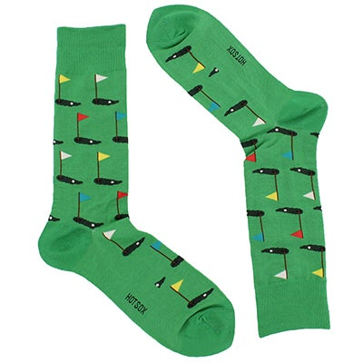 Hot Sox Men's GOLF CREW green printed socks