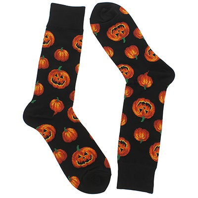 Hot Sox Men's PUMPKIN black/orange printed socks