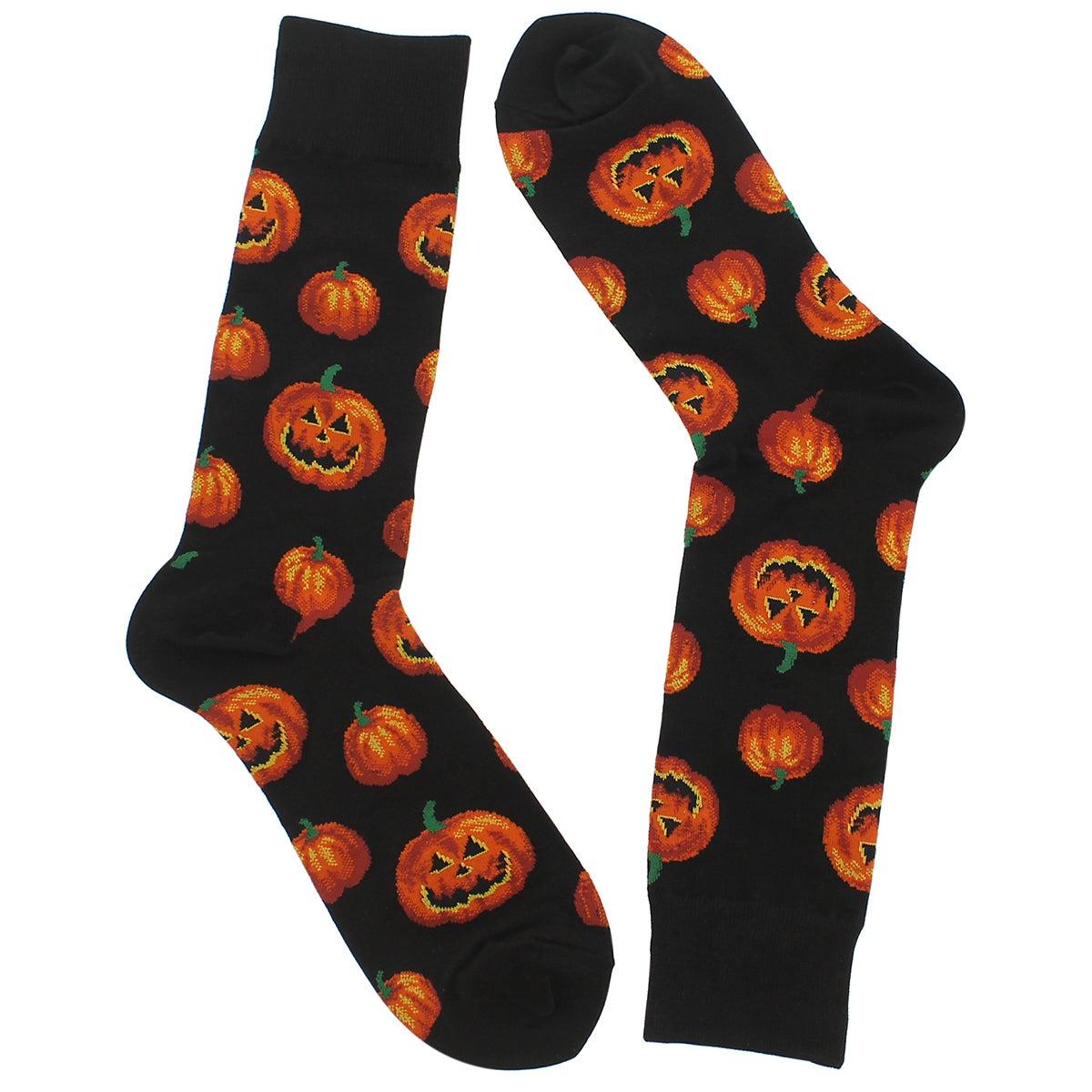 Mns Pumpkin blk/orange printed sock