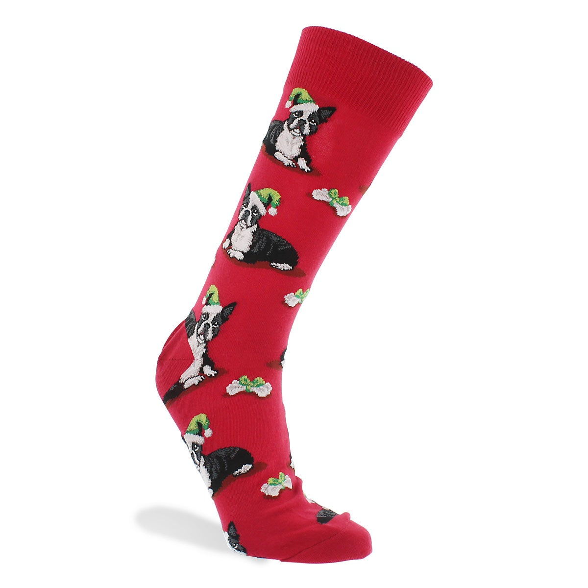 Chaussette BostonTerrierXMas, rouge, hom