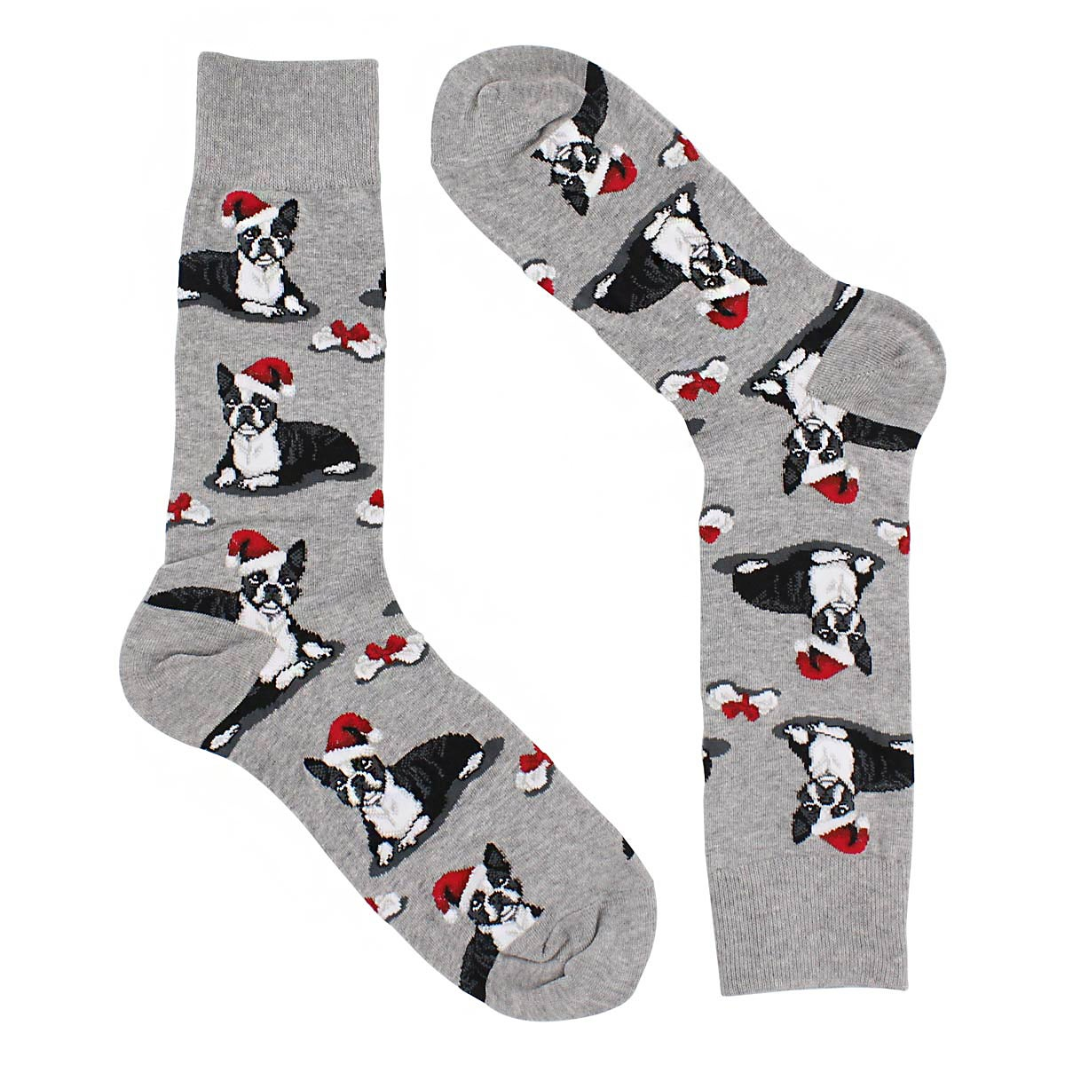 Mns Boston Terrier Christmas grey sock