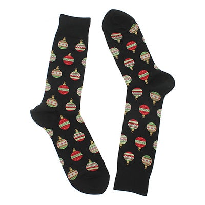 Men's CHRISTMAS ORNAMENTS black printed socks
