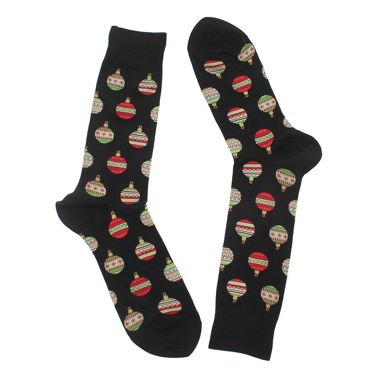 Mns Christmas Ornaments blk printed sock