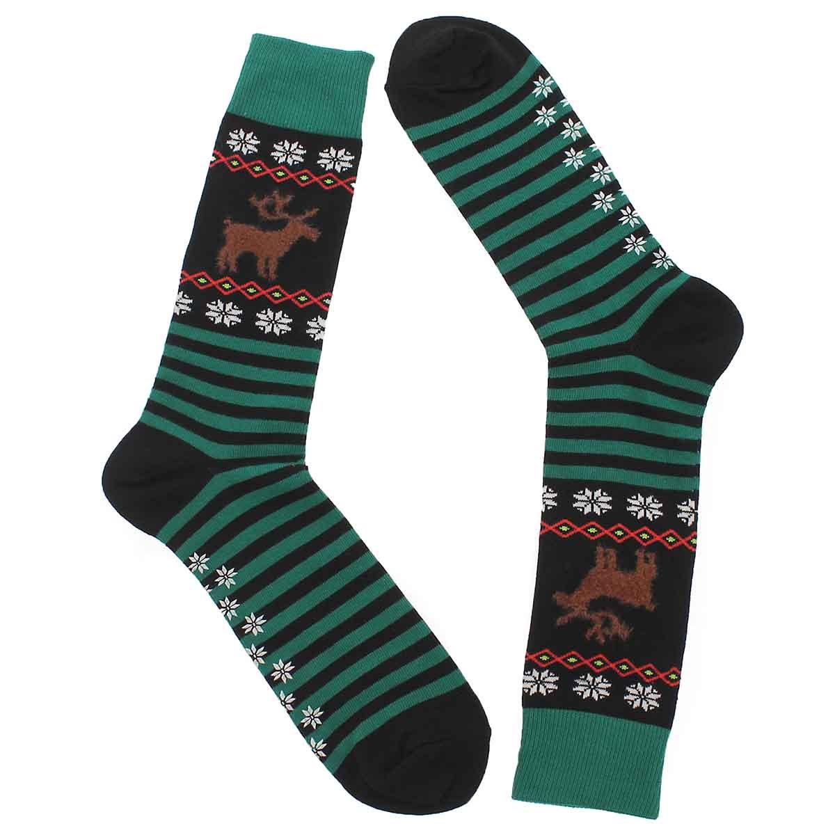 Mns Reindeer black printed sock