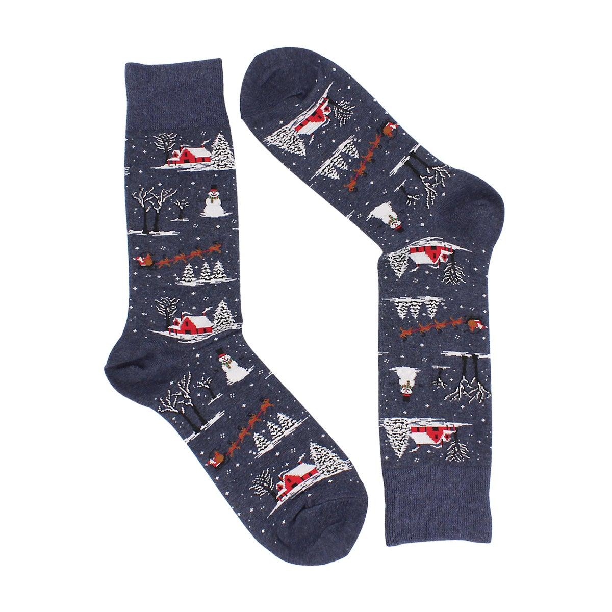 Men's CHRISTMAS SCENE grey printed socks