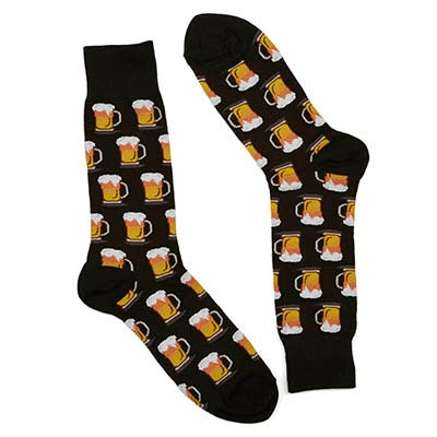 Mns Beer black printed sock