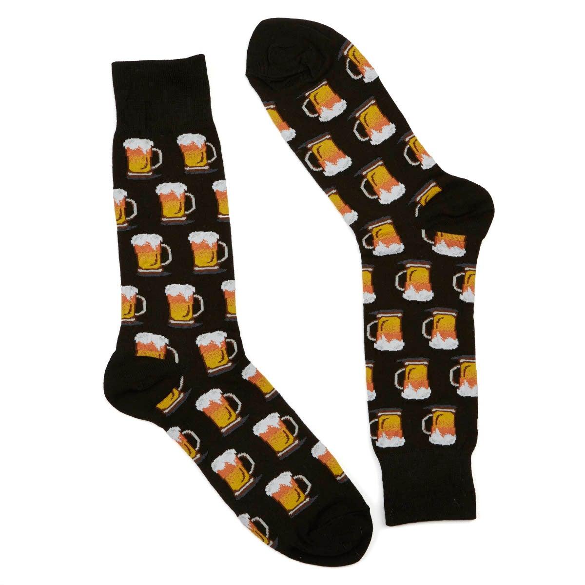Men's BEER black printed socks