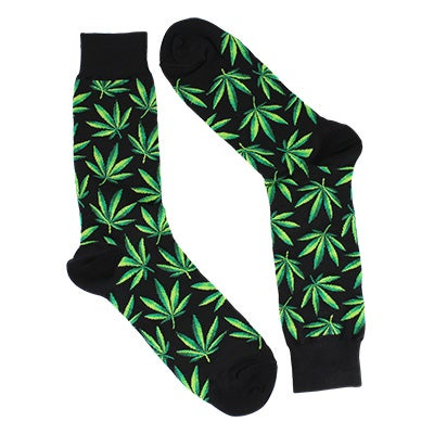 Mns Marijuana black printed sock