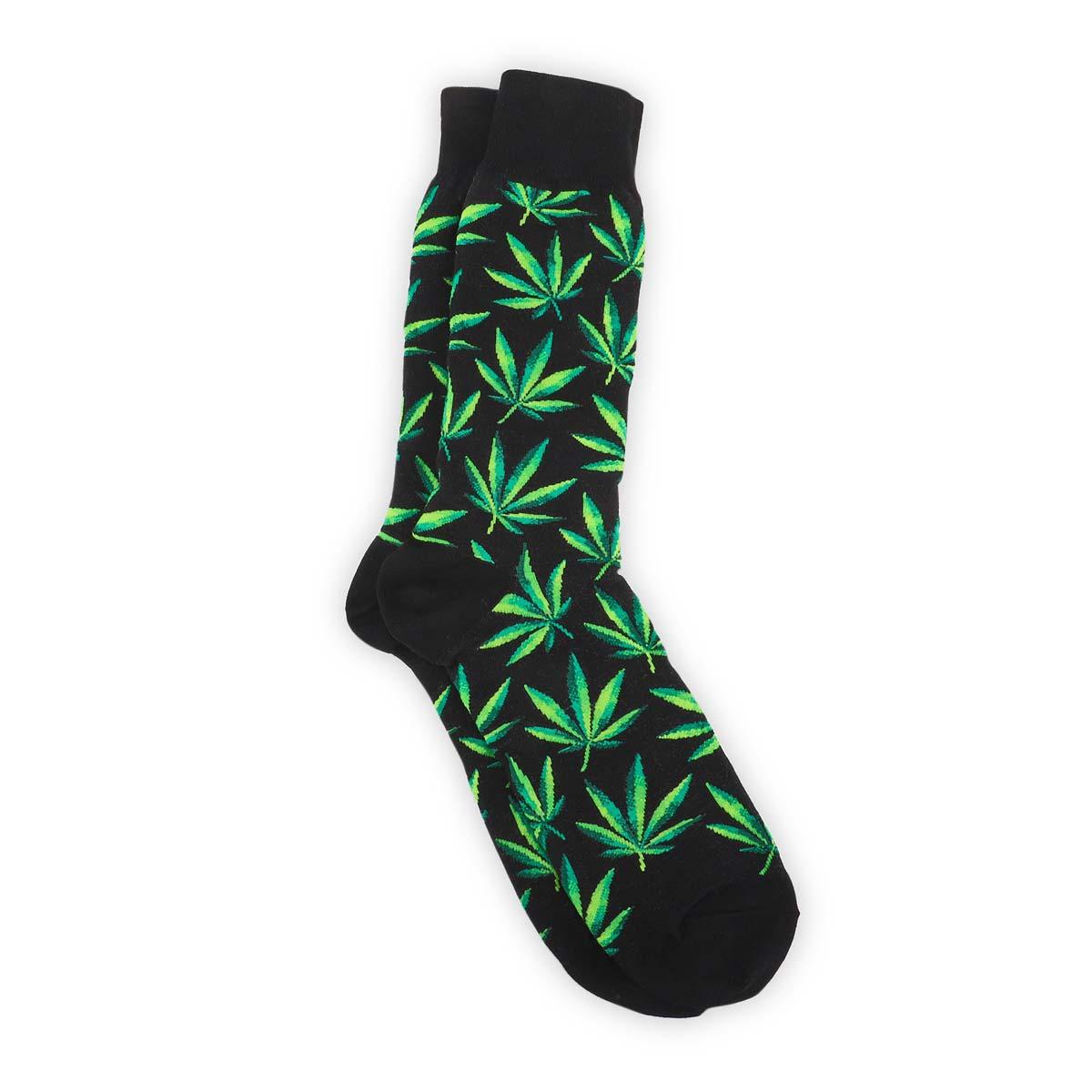 Mns Marijuana black printed sock