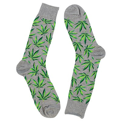 Hot Sox Men's MARIJUANA grey printed socks