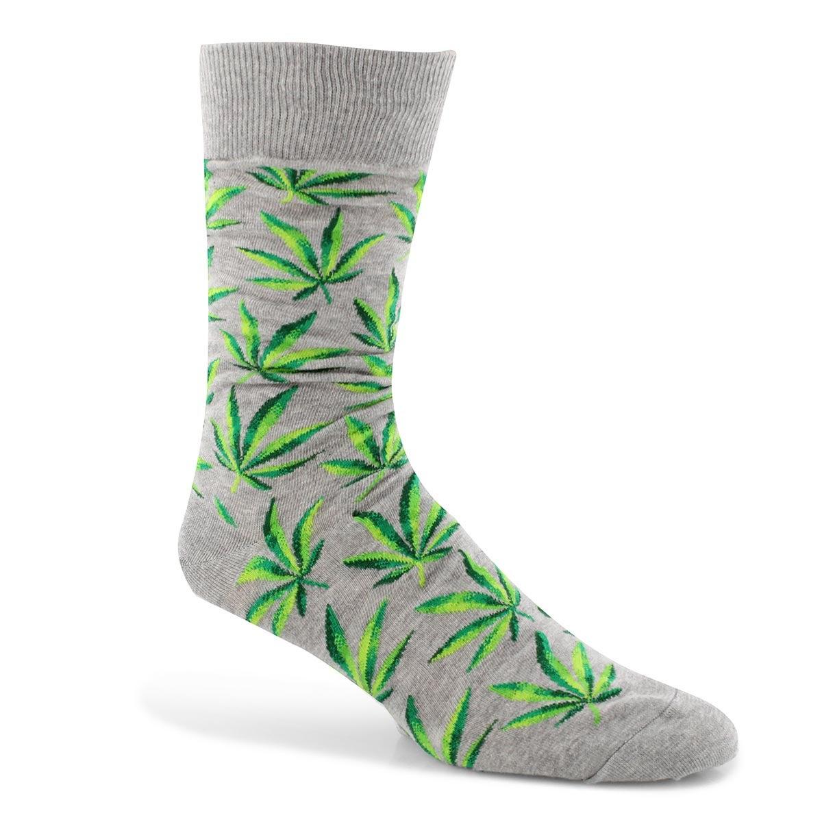 Mns Marijuana grey printed sock