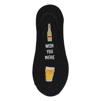 Hot Sox Men's WISH YOU WERE BEER black liner socks