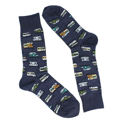 Hot Sox Men's CAMPERS grey printed socks