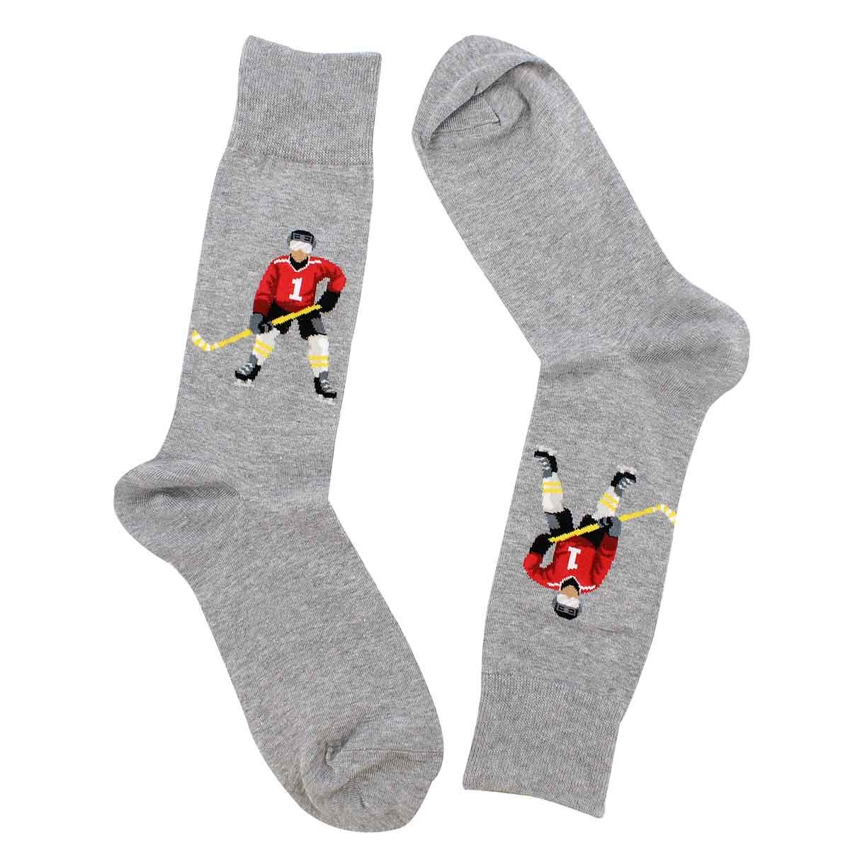 Mns Hockey Player grey printed sock