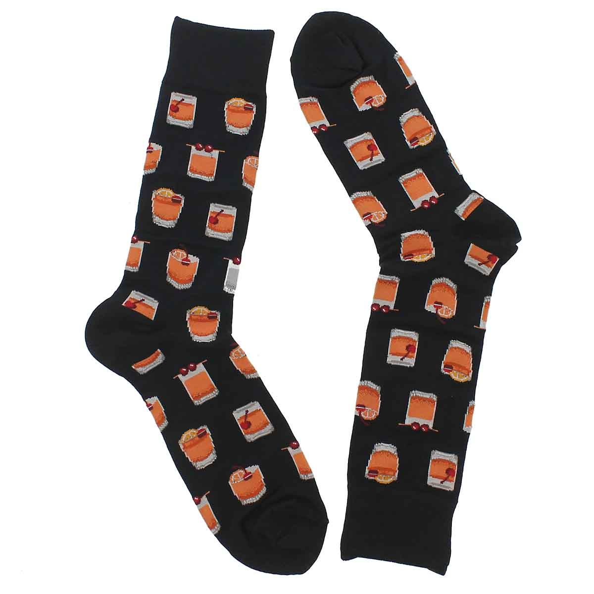Mns Old Fashioned black printed sock