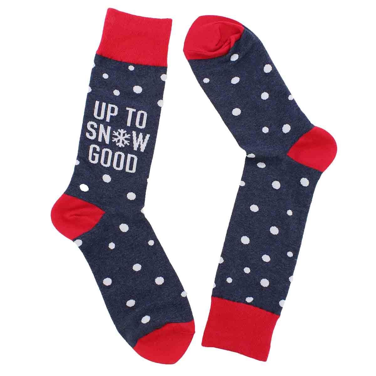 Mns Up To Snow Good grey printed sock