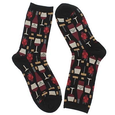 Hot Sox Women's WINE black/red printed socks