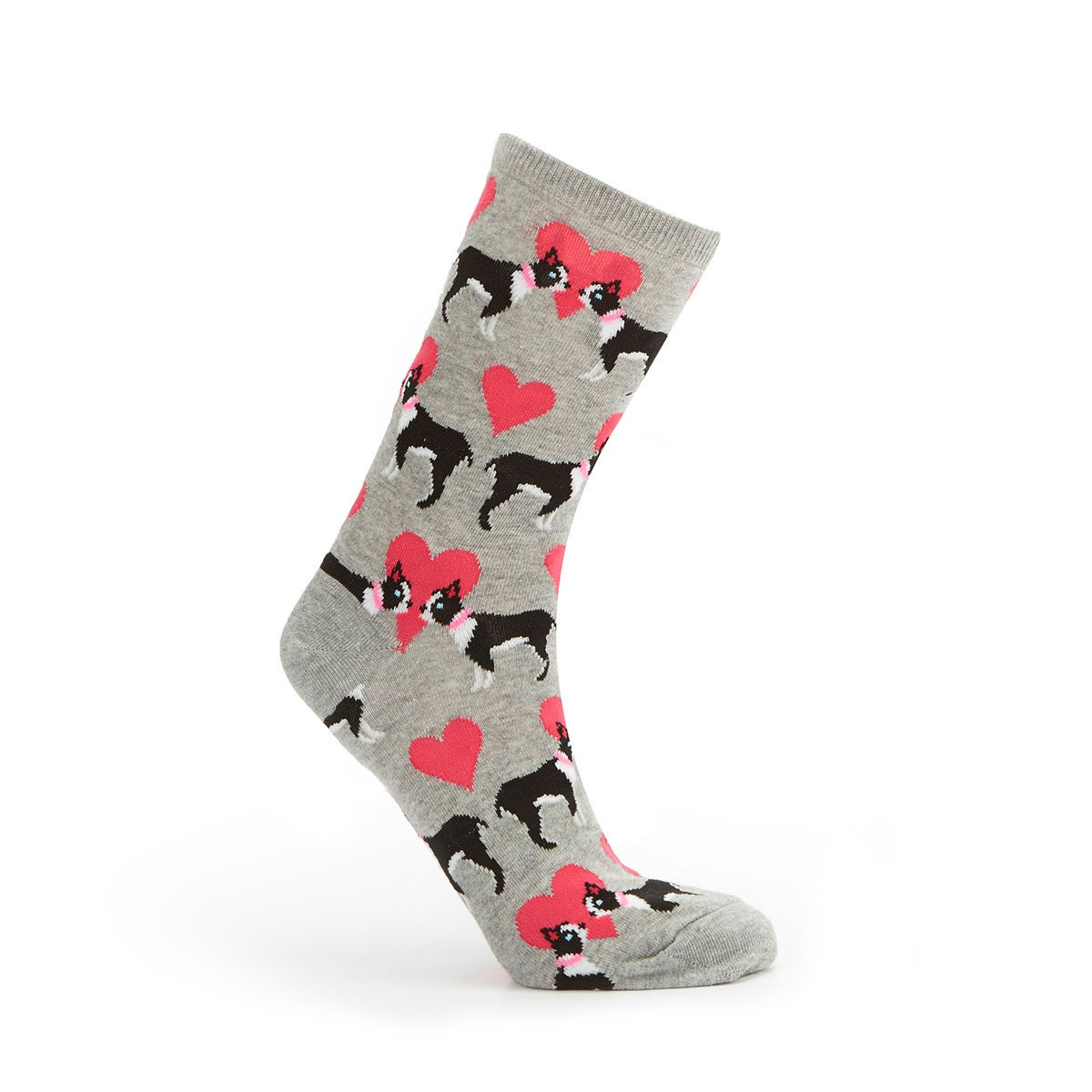 Lds Puppy Love grey printed sock