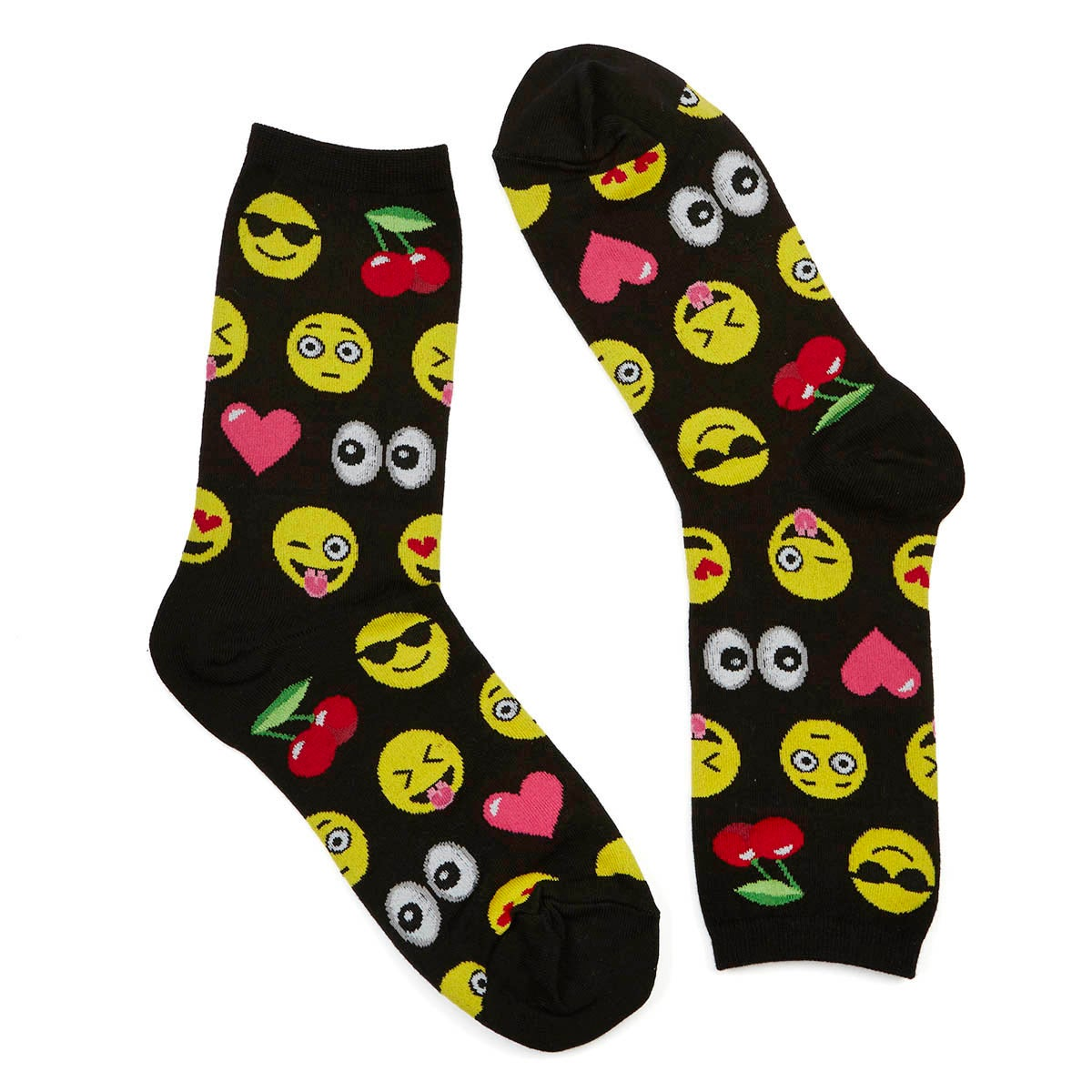 Lds Emoji black/multi printed sock