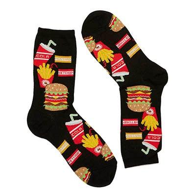 Hot Sox Women's BURGER FRIES & DRINK grey printed socks
