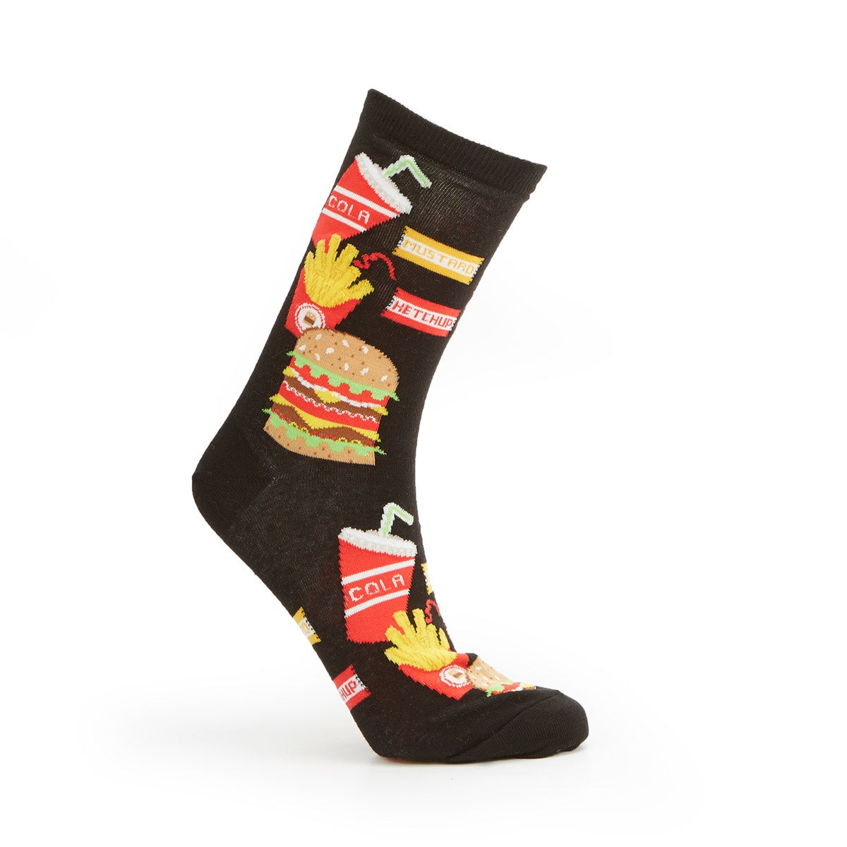 Lds Burger Fries& Drink blk printed sock