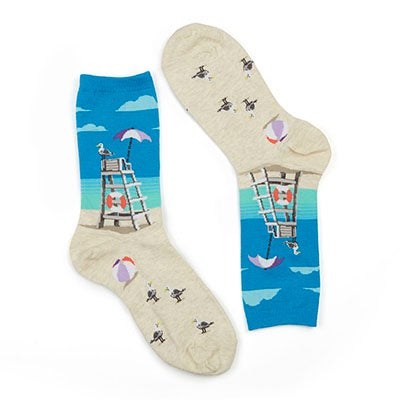Hot Sox Women's LIFEGUARD CHAIR turquoise printed socks