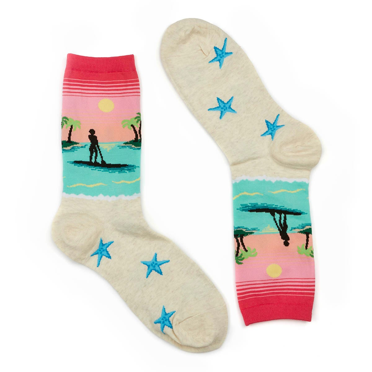 Lds Paddle Board pink/multi printed sock