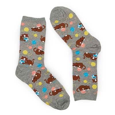 Women's KITTENS WITH YARN grey printed socks