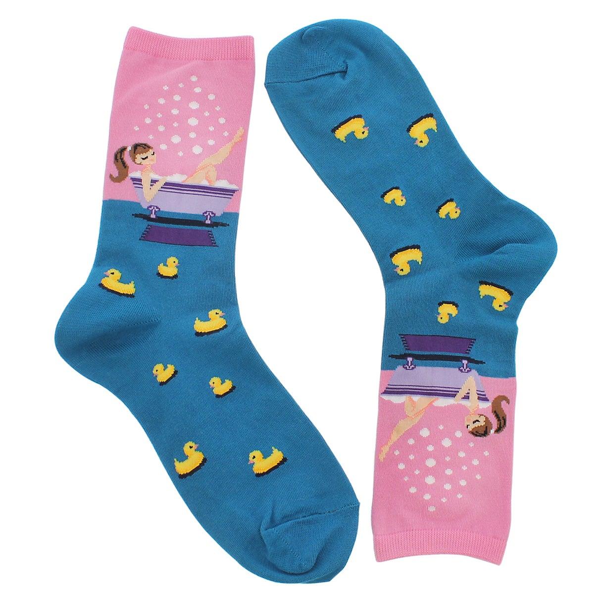 Lds Bathtime pink printed sock
