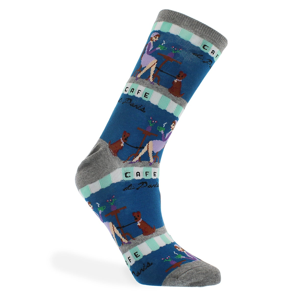 Lds Cafe dark blue printed sock
