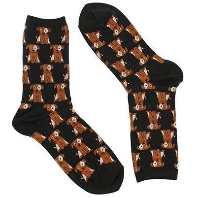 Chaussettes DOGS, imprimé noir/brun, femmes