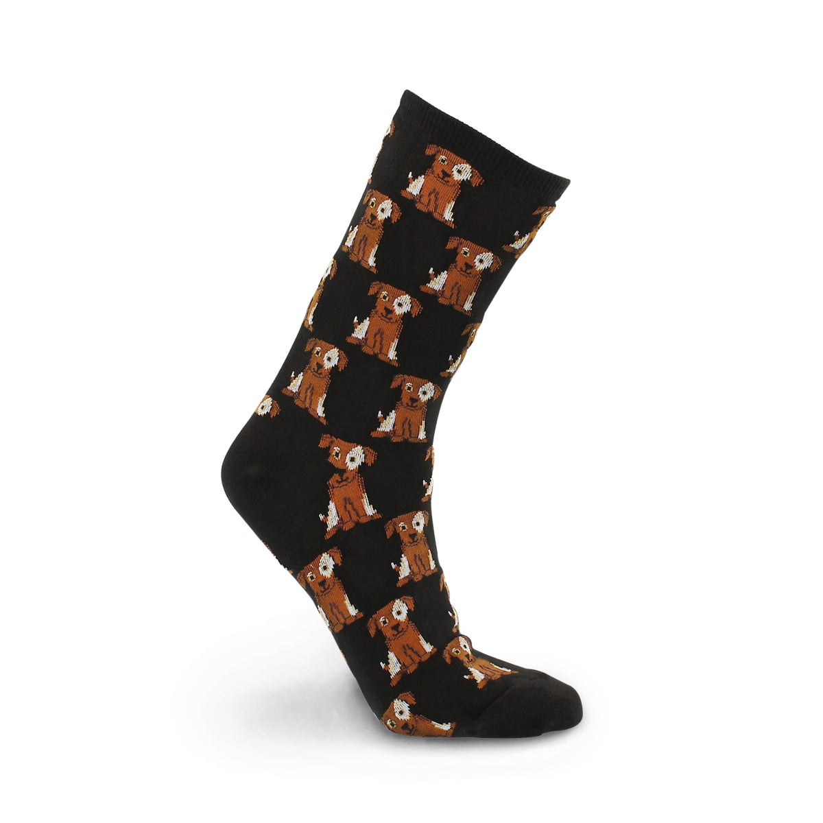 Lds Dogs black/brown printed sock