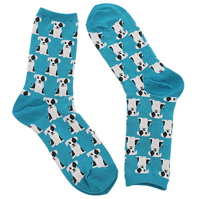 Hot Sox Women's DOGS teal/white printed socks