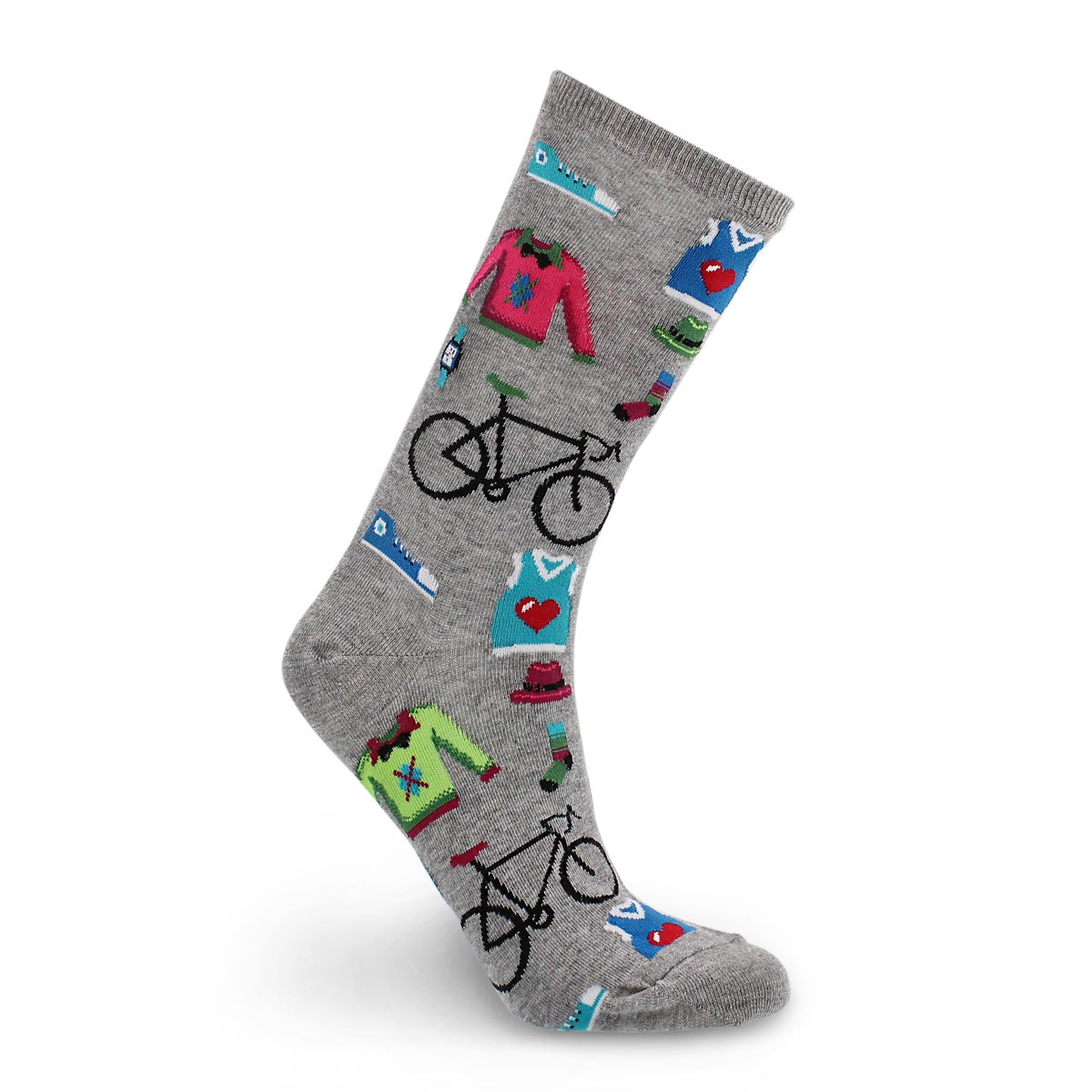 Lds Hipster Wear grey printed sock