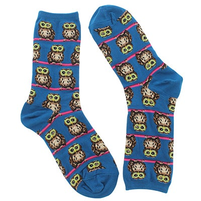 Lds Owl with Glasses blue printed sock
