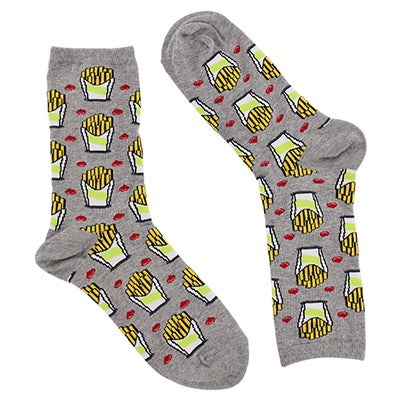 Women's FRIES grey printed socks