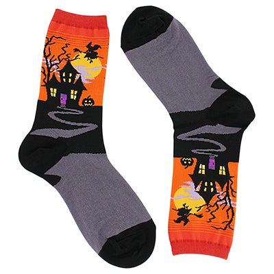 Hot Sox Women's HAUNTED HOUSE orange printed socks