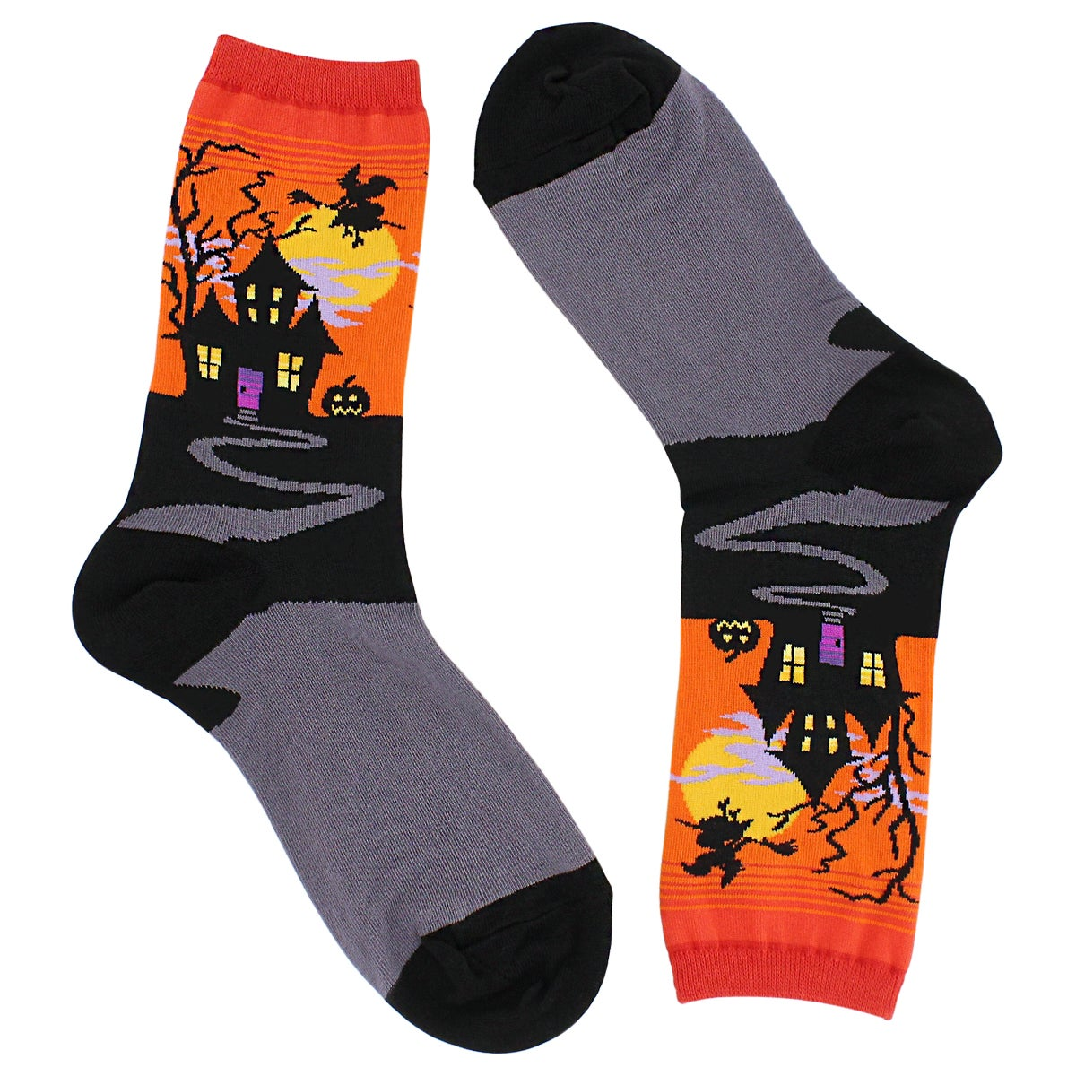 Lds Haunted House orange printed sock
