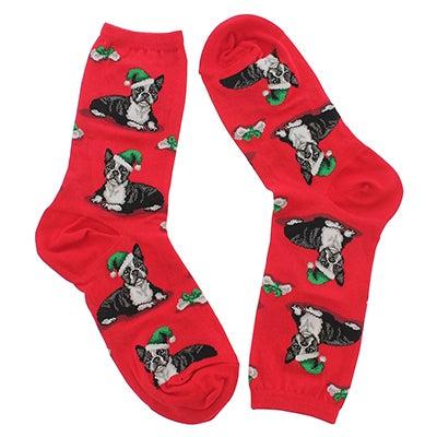 Women's BOSTON TERRIER XMAS red printed socks