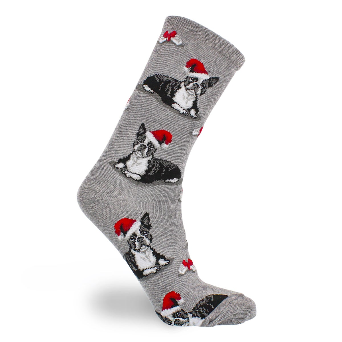 Lds Boston Terrier XMas gry printed sock