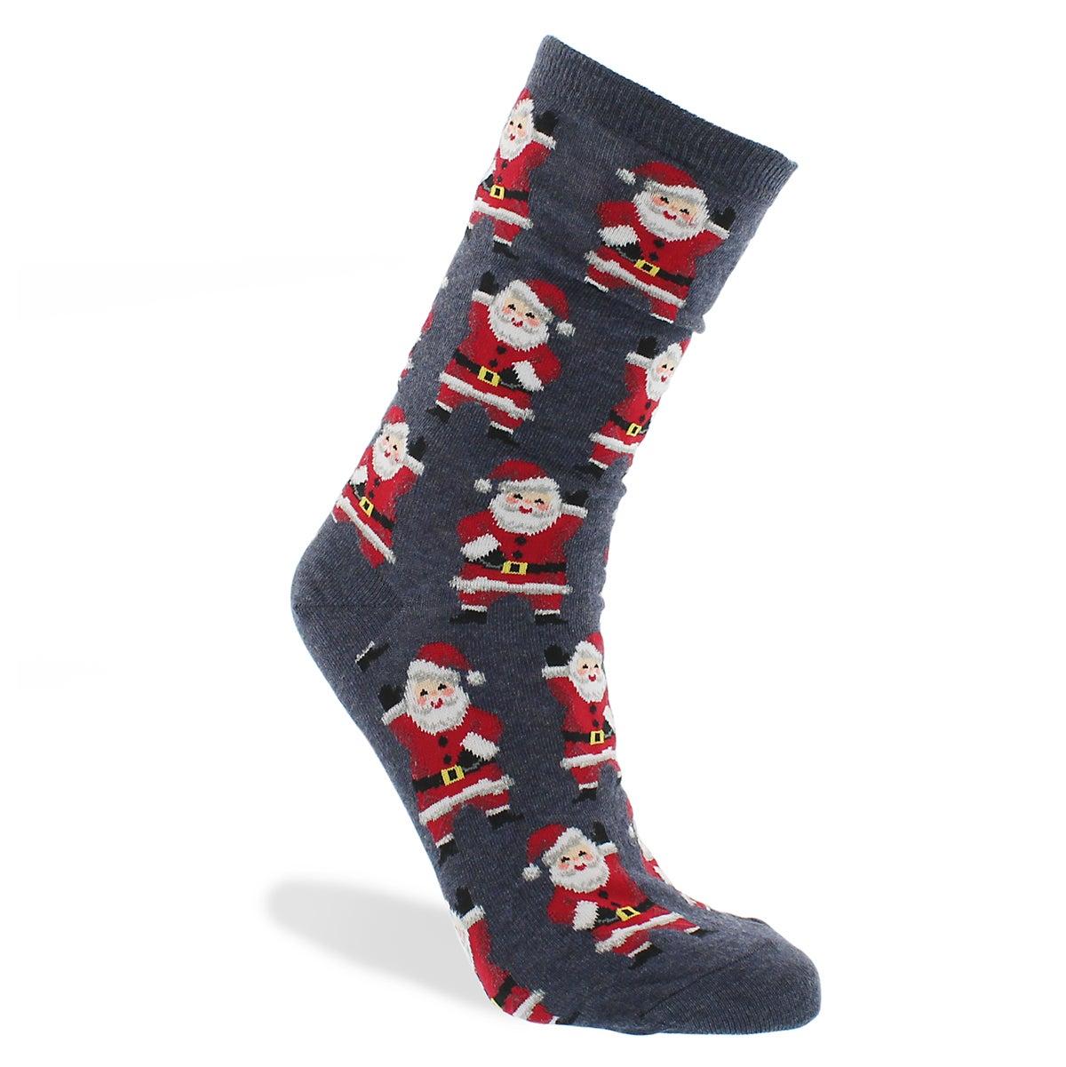 Lds Waving Santa blue printed sock