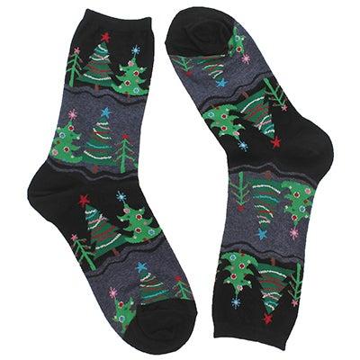 Lds Funky Christmas Tree bk printed sock