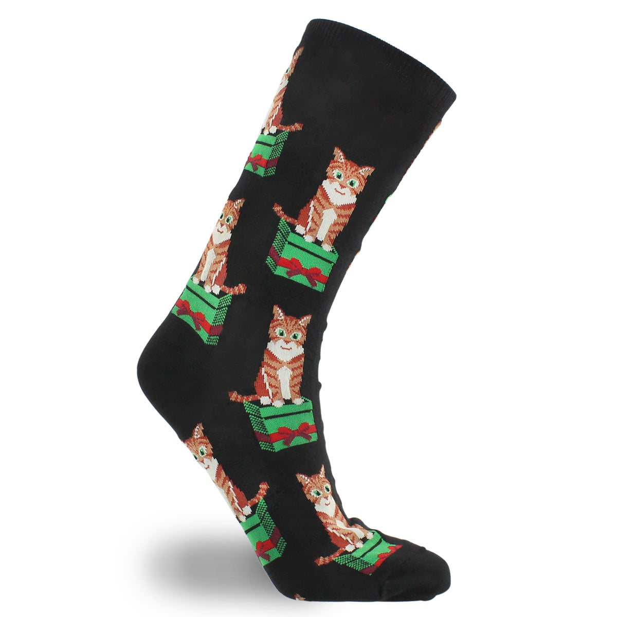 Lds Cat and Gift black printed sock