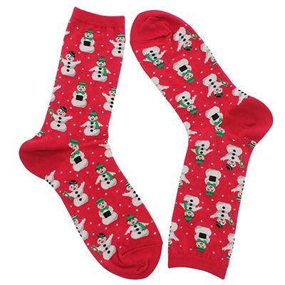 Hot Sox Chaussettes SNOWMEN, imprimé rouge, femmes