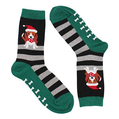 Hot Sox Women's DOG in SANTA HAT with GRIPPERS black socks