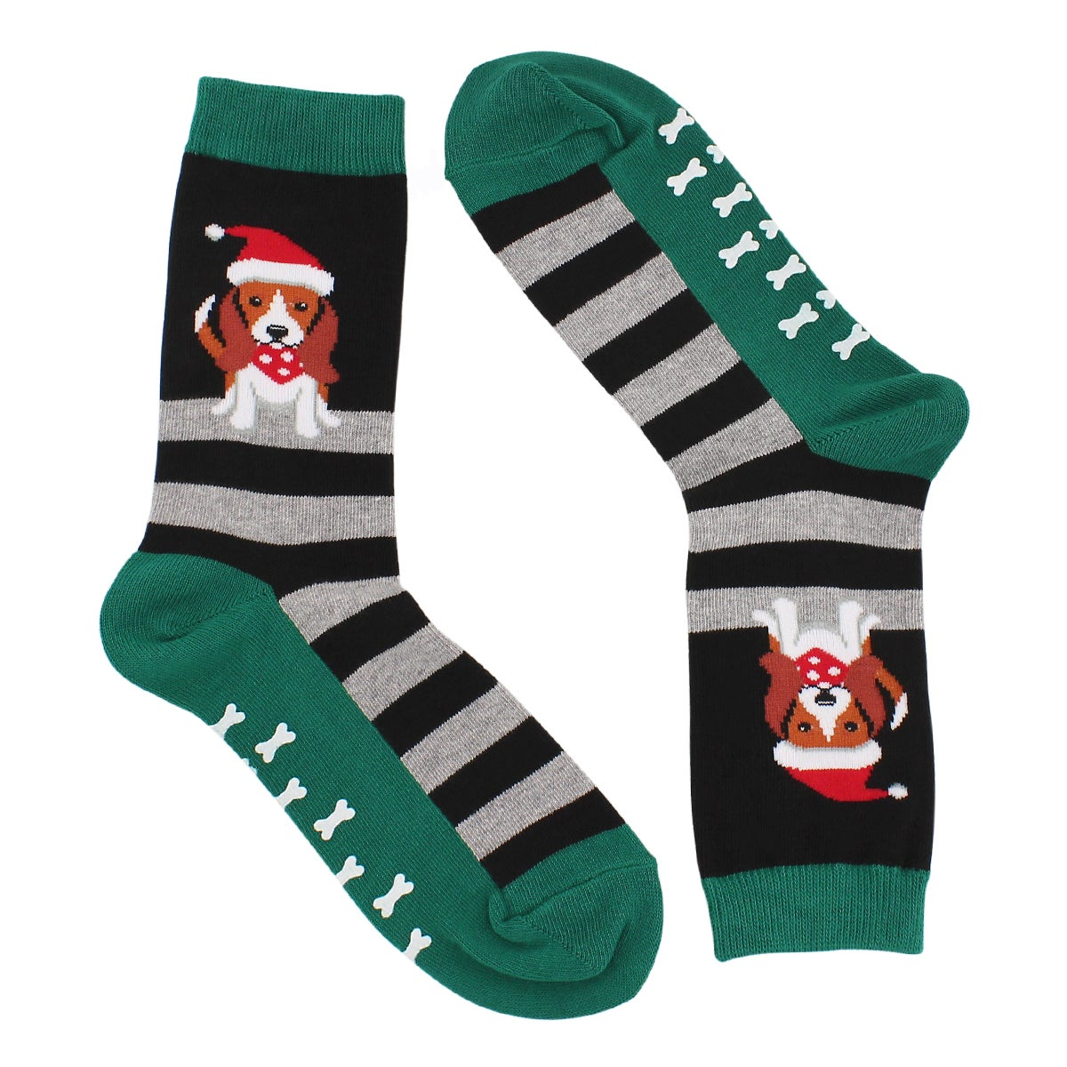 Lds Dog in Santa Hat w Grippers blk sock